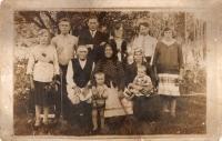 Sereda family. Seated from right to left: grandfather - Andriy Sereda, grandmother - Anna Sereda, aunt - Mariya Lekh. Standing from left to right: aunt - Olena; uncle - Vasyl Sereda; father - Mykola Sereda; mother - Mariya Sereda; godfather - Vasyl Mukha; aunt - Ahafiya (August 1934, Liashky village)
