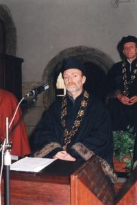 Ladislav Hlavatý jako promotor při promocích studentů ČVUT, Praha, 2016