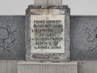 a monument dedicated to the fallen soldiers and partisans by the church in Fackov - detail