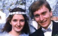 Pavel Štrobl s manželkou Ladou, rozenou Harcubovou, ve svatební den (1988)