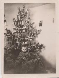 Julia near the Christmas tree, 1958, Baley