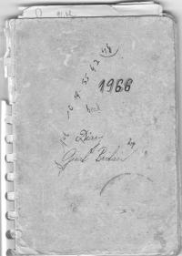 Obal deníku, který si Miloš vedl v Británii, 1966