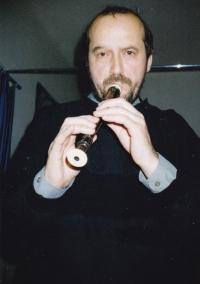 Miloš jako amatérský flétnista, Praha 1987