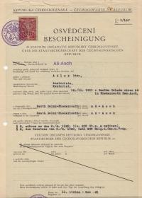 Bescheinigung über die Staatsbürgerschaft der Čechoslovakischen Republik, Otto Adler