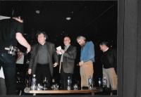 David Černý, György Konrád, György Varga, Vráťa Brabenec a Václav Havel na kulturní akci Českého centra v Budapešti Moje město, 2009