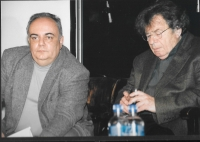 Robert Svoboda a György Konrád na kulturní akci Českého centra Moje město, Budapešť 2009