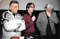 Večer na počest B. Hrabala - zleva Jiří Menzel, László G. Szabó a Péter Esterházy, Budapešť 2007