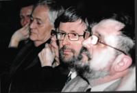 Večer na počest B. Hrabala - zprava Evžen Gál, velvyslanec Jaromír Plíšek, režisér István Szabó, Budapešť 2007