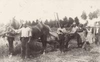 Dolečkovi jako hospodáři v osadě Moldavy Májovka v rovenské oblasti na Volyni. Po zabrání Volyně SSSR je Sověti je označili za kulaky, zabrali jim půdu a sebrali dobytek.