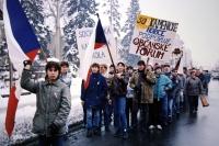 Stávkující studenti v Hořicích