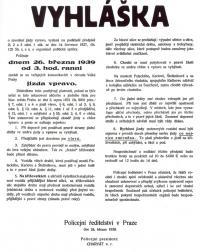 Vyhláška zavádějící jízdu vpravo od 26. března 1939