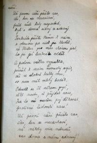 Báseň, kterou napsala Eva o zatčení tatínka 1. září 1939.