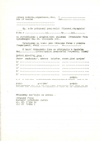 Registrační formulář pro místní Občanská fóra