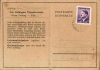 Dopisnice, kterou poslala Lidmila Daňková (roz. Dragounová) rodičům z terezínské Malé pevnosti