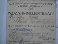 prozatímní členská průkazka Svazu protifašistických bojovníků