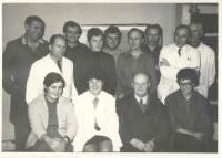 Pracovní kolektiv OSP 60. léta, František Wiendl první z leva uprostřed