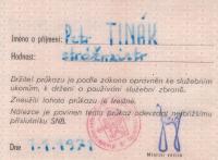 Ukradený průkaz příslušníka StB, který používal člen Koptovy skupina Kutílek-Klaudis