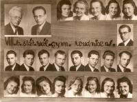 Maturitní tablo roudnického gymnázia z roku 1945