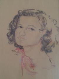 Irma v Terezíně, kreslila E. Blažková 1942