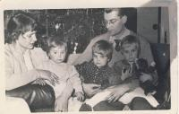 With husband and children, cca 1959