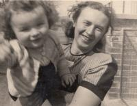With his mum; 1944