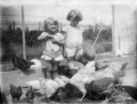 1926/27, u prarodičů z matčiny strany na prázdninách, Nová Huť u Plzně. Babička chovala slepice a Hana a Tatiana je měly za domácí mazlíčky