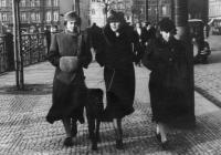 Zima 1938/39 v Praze na nábřeží. Zleva Hana, Vlasta a Tatiana Moravcovy. Jejich německý ovčák Ferdinand (Feri) dostával maso a rýži. Rýži neměl rád,vždycky ji z masa setřepal, schoval se a čekal, až přiletí ptáci, aby rýži snědli. Pak ptáky sežral.