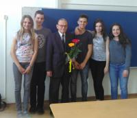 Pan Hradec se žáky ze ZŠ J. Seiferta v Mělníku, březen 2016