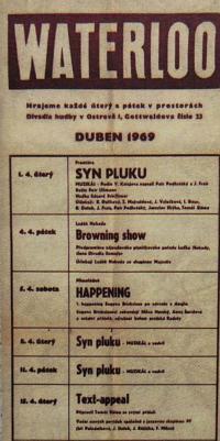 Divadlo Waterloo - program divadla z dubna 1969
