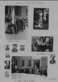 výběr fotek (partyzáni, Prostějov 9.května 1945,vpravo nahoře Bedřich Hájek s kamarádkou)