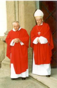 Jan Josef Kohl s Anastázem Opaskem, opatem břevnovského kláštera