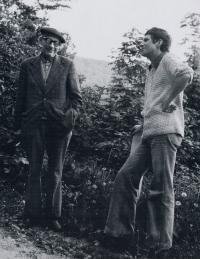 Se svým profesorem Vladislavem Vaculkou - signatářem Charty 77