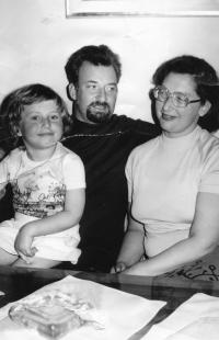 Riesel Petr - with daughter Hana and wife Tamara,  second half 70s