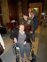 Marie Lastovecká and Vlasta Vyhnánková (on the wheelchair)