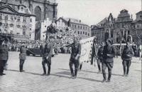 Josef Vyhnánek during a festive march through Prague city, May 17, 1945