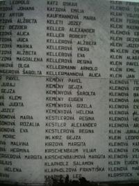 memorial plaque in the Jewish cemetery in Žilina with names of the citizens who have perished in the holocaust