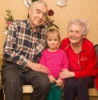 Brigita with Emil and their great-grandniece Kačenka, 2016