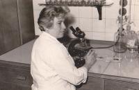 Brigita as a laboratory assistant in rheumatology ward, c. 1970