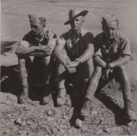 Baalbek, 1941, AT kurs, from the left: Jan Koukol, sergeant Martindal, corporal Fuks