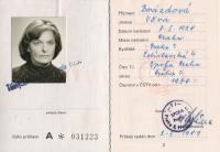 Věra Nováková, průkaz TJ, 1989