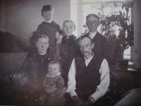 Grandparents with their sons and daughter, Vladimír Ficek is sitting on the knees her mother, 1894