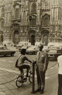 Trubáček v Milánu roku 1970