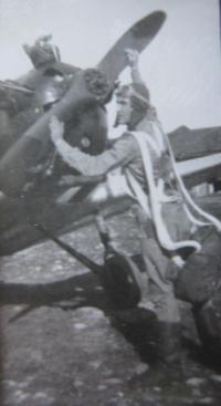 Výcvikové letadlo (nejspíš La-5FN) používané při výcviku letců v Telavi v Gruzii