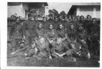 Artillery battery - Černovec 1945 (Vasil Derďuk in the top right, second from the right)