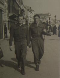 In UNRRA, Venice, 1st April 1946, Michal Demjan on the right