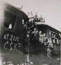 reemigration from Yugoslavia (the inscription on the train reads: long live the Communist party of Czechoslovakia)
