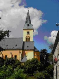 Věž kostela, ze které Prokop s kamarády dne 28.10. 1918 pozorovali vyvěšování československých vlajek a mumraj s tím spojený