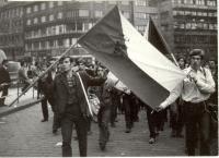 1968, srpen, Václavské náměstí, krev oběti na státní vlajce