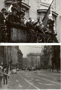 1968, srpen, Tito se Svobodou a Černíkem těsně před okupací a první tanky okupantů na Příkopech pár dní poté