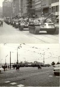 1968, srpen, tanky okupantů v pražských ulicích, nahoře Příkopy, dole kontrolní stanoviště u mostu přes Vltavu